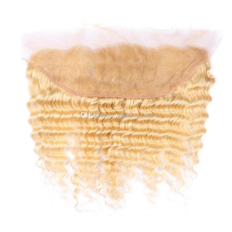 Blonde 613 Deep Wave 13x4 encaje Forntal con cabello humano teje rubio 613 pelo rizado profundo con oreja a oreja frontal