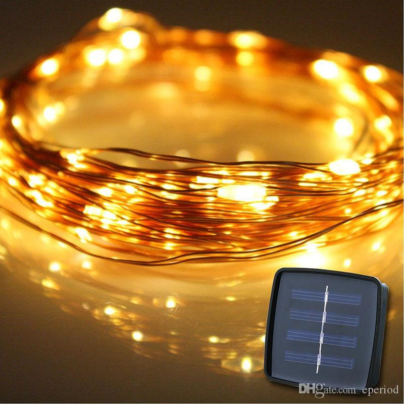 Outdoor LED String Lights 10M 100 LEDs Solar Powered Copper Wire Fairy Lights for Decorating Garden Wedding Holiday Xmas Decoration DHL free