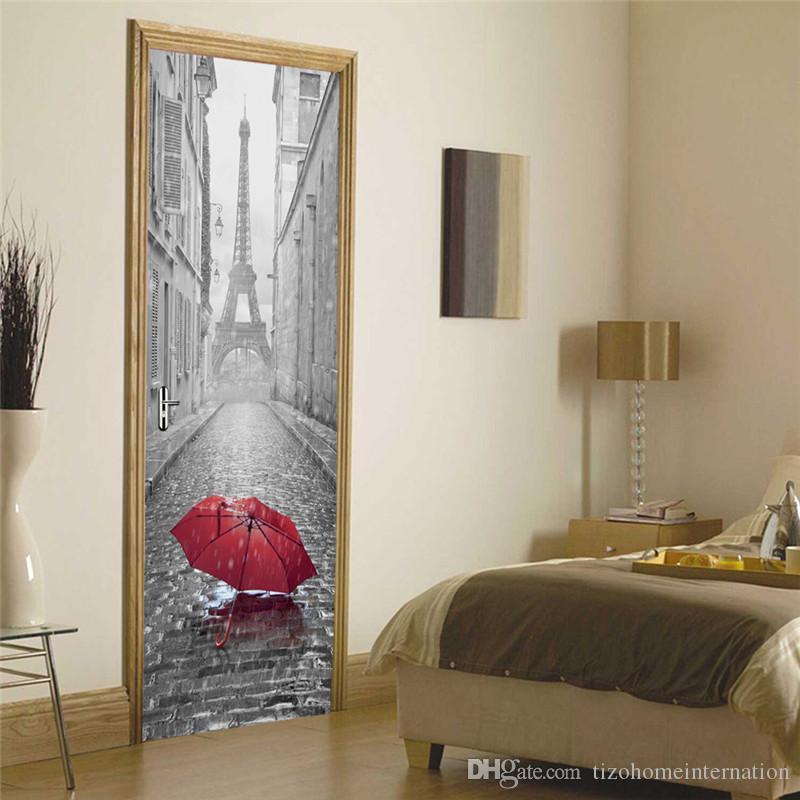 3d porta da etiqueta diy mural imitação paris torre eiffel à prova d 'água autoadesiva porta adesivos quarto home decor pvc papel de parede