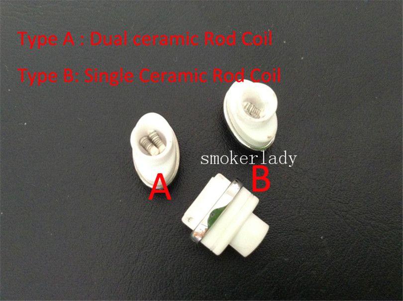 Wax Atomizer Dual Ceramic Rod Coil Head for Elips Wax pen Micro Gpen Cloud G Titanium Rod E Cigarette Atomizer double coil