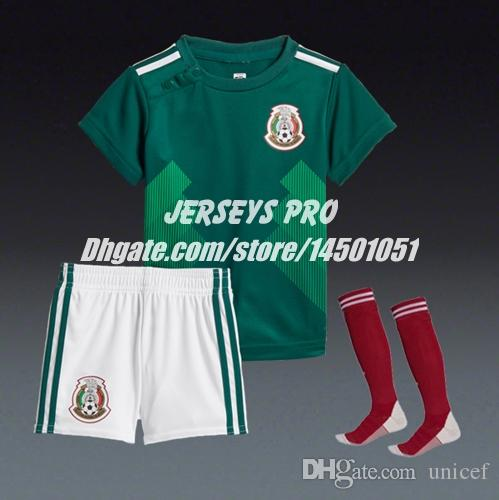3e05d1e4d Youth Kids Baby Boy Girls Children s Mexico 2018 World cup Home green  Soccer Uniforms Jersey with Shorts Socks kit Hirving Lozano Chicharito