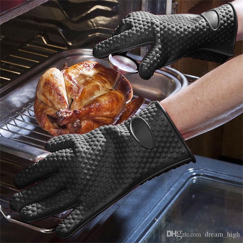 قفازات الشواء الغذاء الصف مقاومة للحرارة سميكة سيليكون مطبخ الشواء فرن الطبخ قفاز شواء قفاز فرن قفاز قفاز قفاز