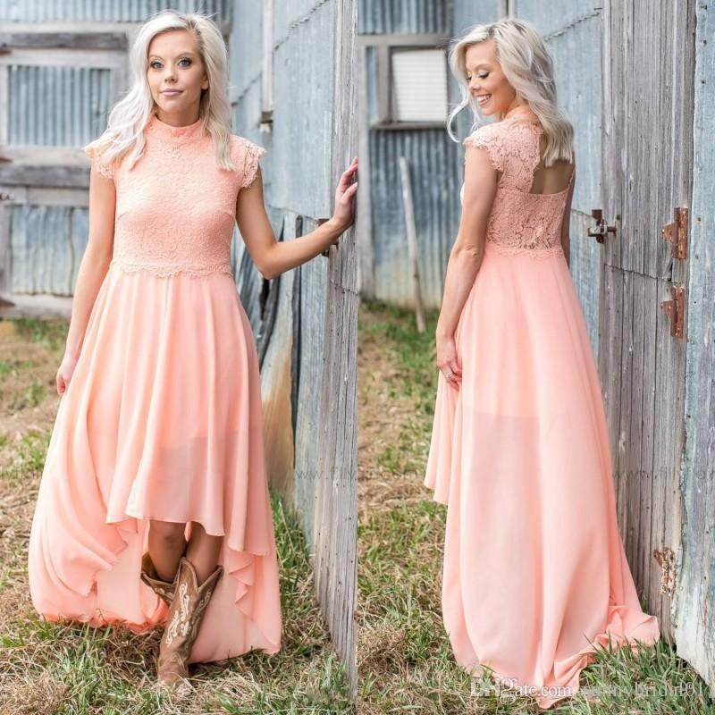 Salmon Pink Bridesmaid Dresses
