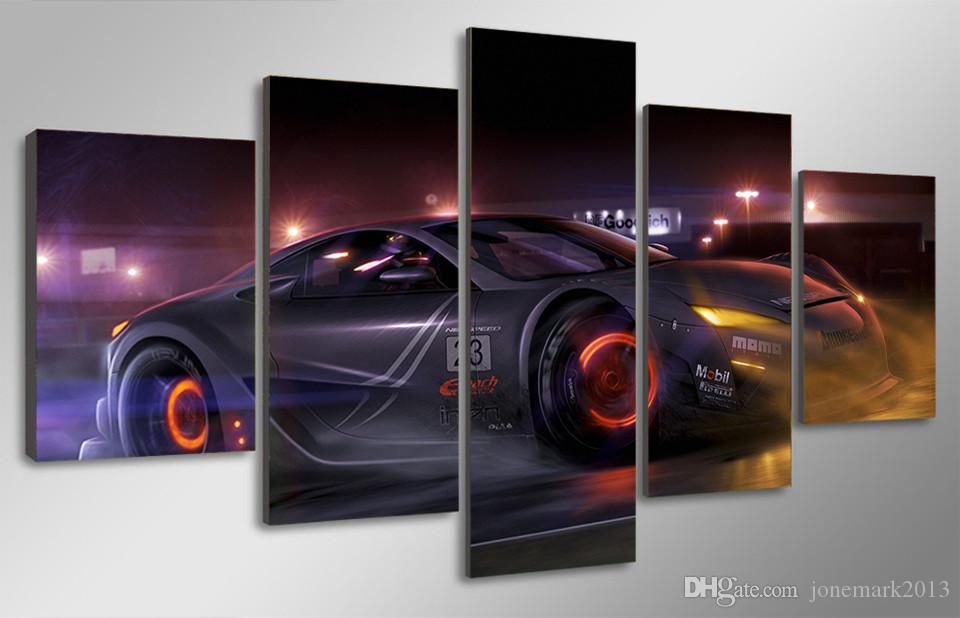 Framed HD Printed Luxury Car Pictures Picture Wall Art Canvas Print Decor Poster Canvas Oil Painting