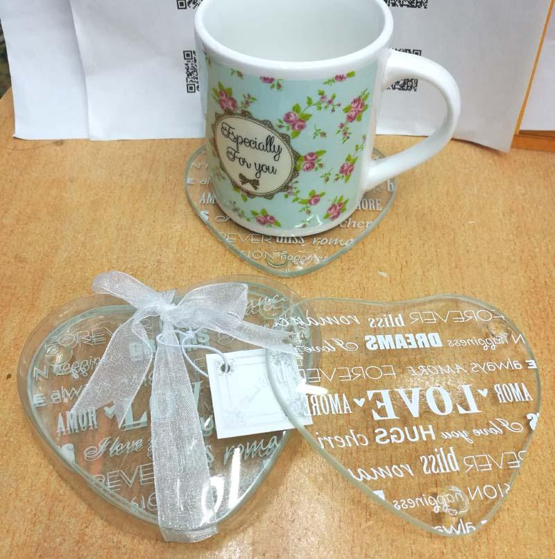 Wholesale Valentines gifts Heart Love Clear Glass Cup Coaster Tablemat Cup Mat Casamento Wedding party