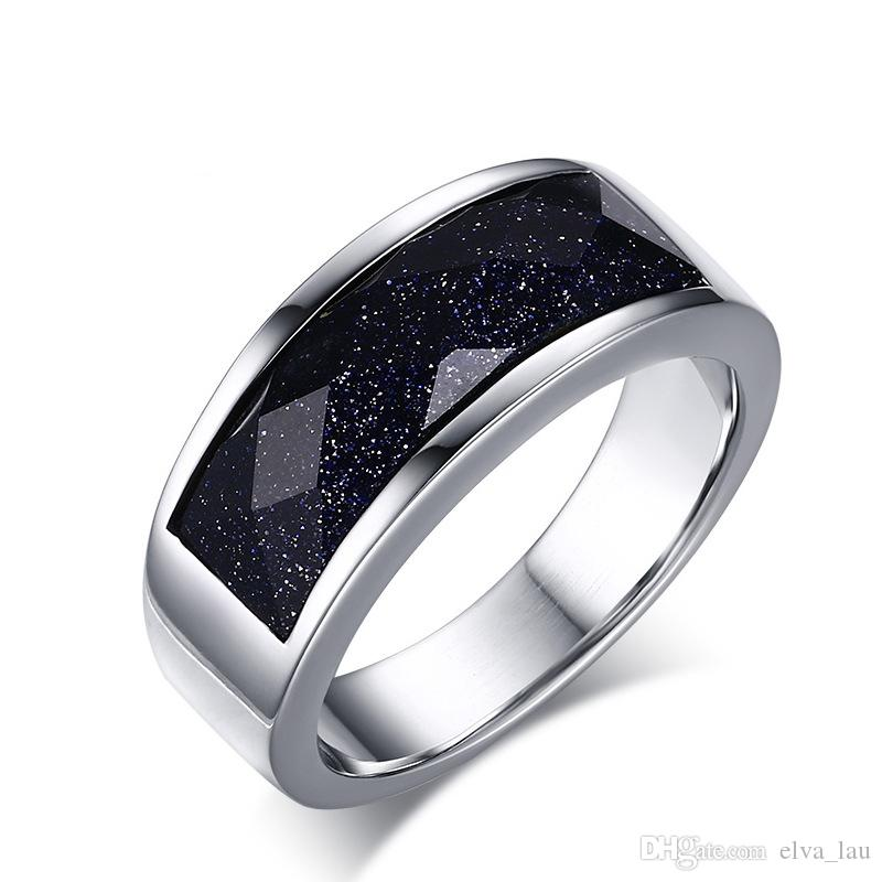 Großhandel Art und Weise Korea Blau Gravel Mens Jewerly Titanium Herren-Ringe Qualität polierte 316L Edelstahl-Ringe für Männer US-Größe 6-11
