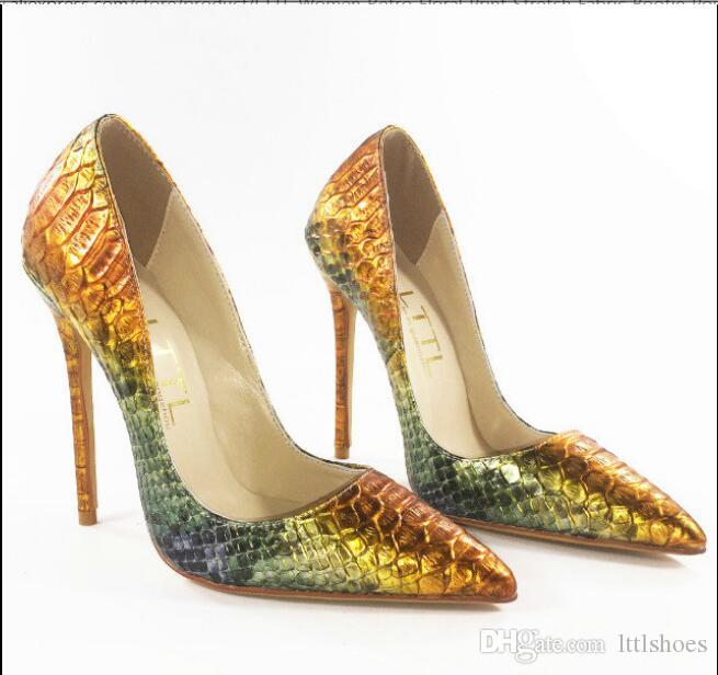 cc1a77a96ac Classic Snakeskin Style Thin High Heels Gold Green Mixed Color Women Pumps  Embossed Leather Lady Shoes Sexy Party Stiletto Shoes Brown Dress Shoes  Leather ...