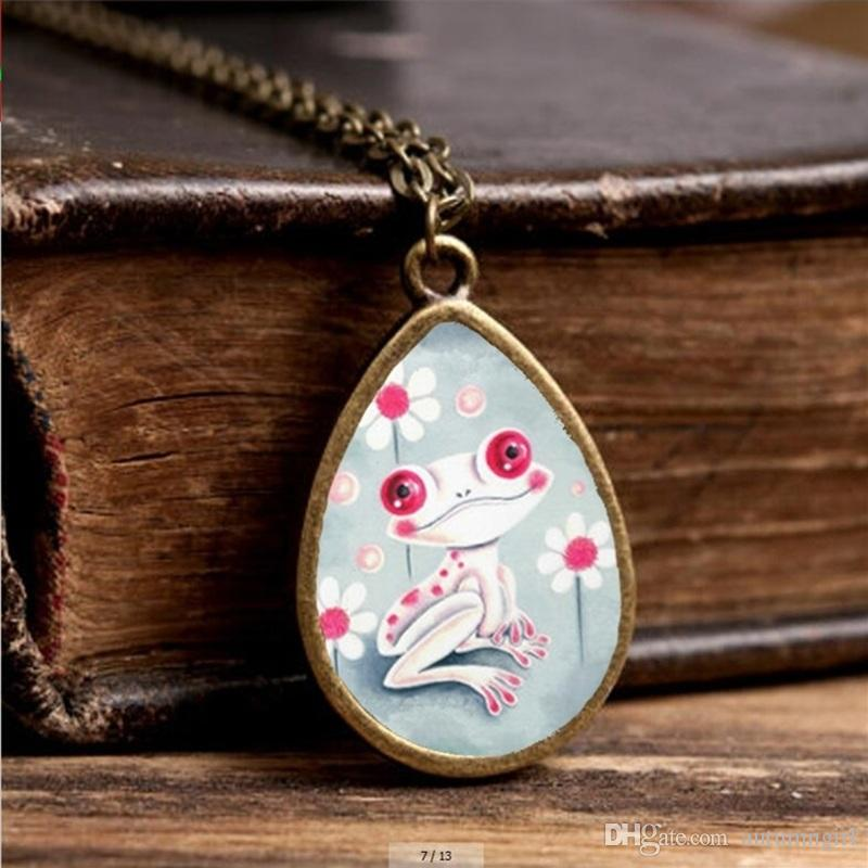 2017 New Frog and Fairy Necklace Sleepy Lazy Frog Pendant Tear Drop Jewelry Vintage Handmade Necklaces Gifts Girl
