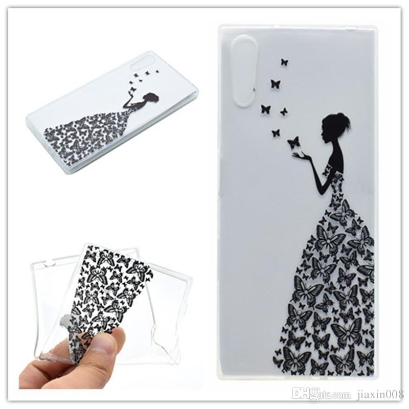 Cubierta transparente de TPU para Sony Xperia XZ Case Color de moda decoración Torre bicicleta Butterfly Girl Feather Diseño Caja del teléfono