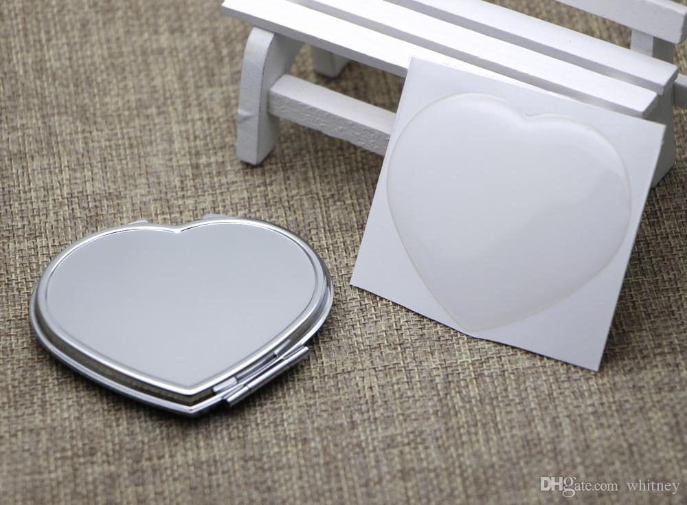 Espejo de bolsillo de corazón Espejo compacto de plata con resina Etiqueta epoxi DIY Set Sendero Pedido 5 piezas / lote # M0838