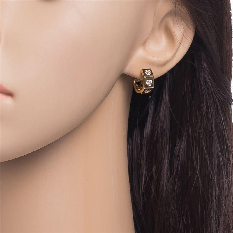 18K Gelbgold überzogener Drei kleine Herz-Band-Ohrringe Gepflasterte österreichische Zirkonia für elegante Frauen Fashion Jewelry