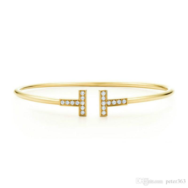 Duplo T Pulseiras Abertas Ajustável Cuff Bangle Mulheres Pulseiras De Prata De Ouro Rosa de Ouro Pulseiras De Cobre Moda Jóias