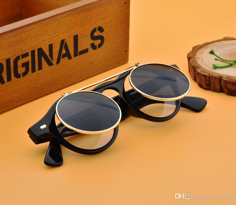 Moda Retro Vintage Punk Styles 1950s Hombres Mujeres Gafas de sol Gafas de sol Flip up Cyber Gafas redondas Gafas
