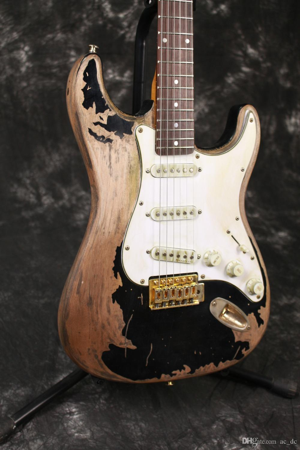 Handwork John Mayer Strat Limited Edition Black 1 Cruz Masterbuilt Heavy Relic Electric Guitar Aged Hardware Nitrolacquer Paint Straps