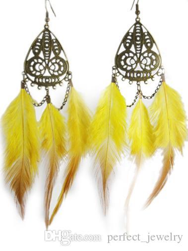 Feather Earrings wholesale Cute Dragonfly Charm Chain Dangle Eardrop Hot Navy Beige White Black Sky Blue Army Green JF262