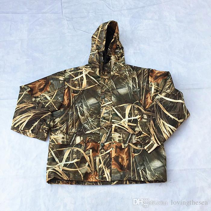Dropshipping Marsh Filed Reeds Bonic Caza Traje Ropa de caza con capucha Ropa de Camuflaje Transpirable a prueba de agua Jacket + Pants Set