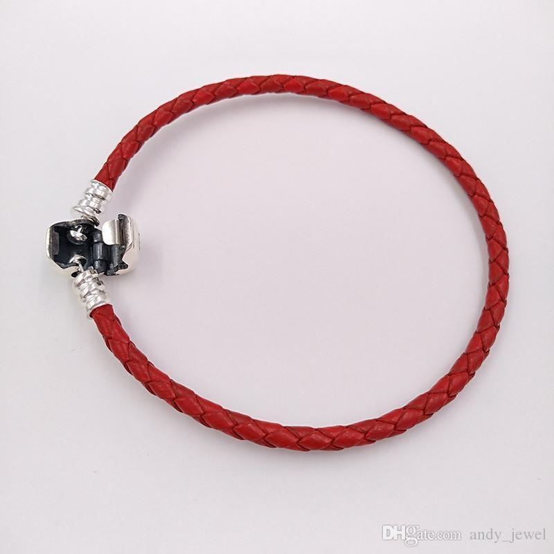 أصيلة 925 لحظات فضة واحدة المنسوجة الجلود سوار - الأحمر يناسب باندورا الأوروبي أنماط مجوهرات سحر الخرز 590705CRD-S3