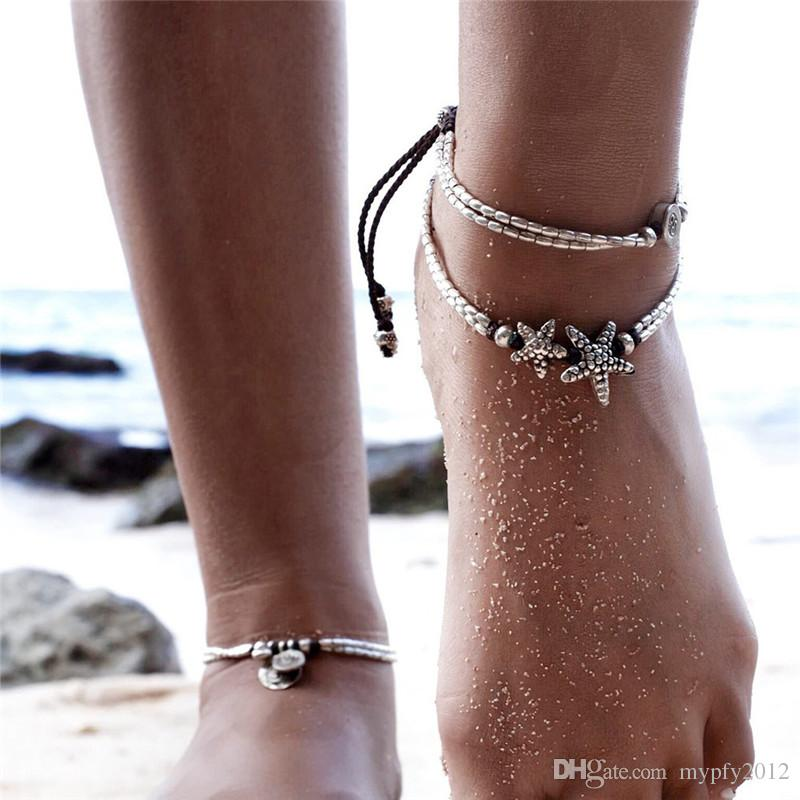 New Retro Star And O Pendant Anklet Beach Foot Ring For Women Holiday barefoot sandals Anklets Bracelets Jewelry Party Gifts HZ