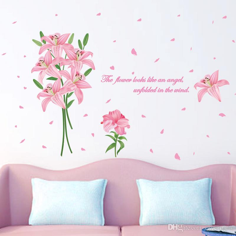 acheter pink color lily wall sticker pvc matériau creative wall