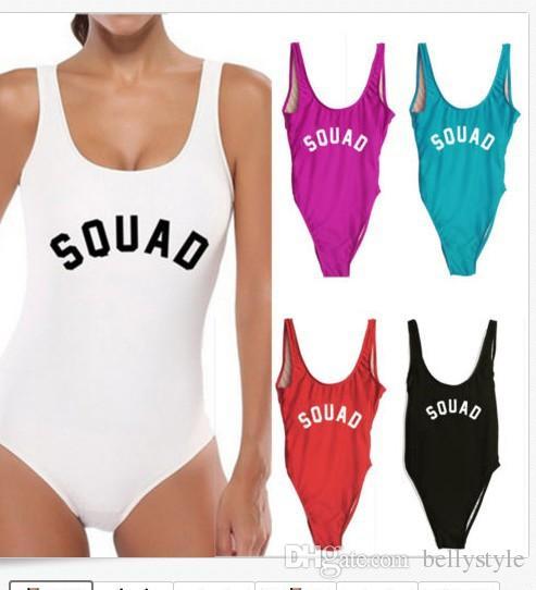 542d26de08 2019 2017 Hot Sale One Piece Swimsuit SQUAD Letter Print Swimwear Monokini  Women Bikini Trikini YWXK1708 From Bellystyle, $3.02 | DHgate.Com