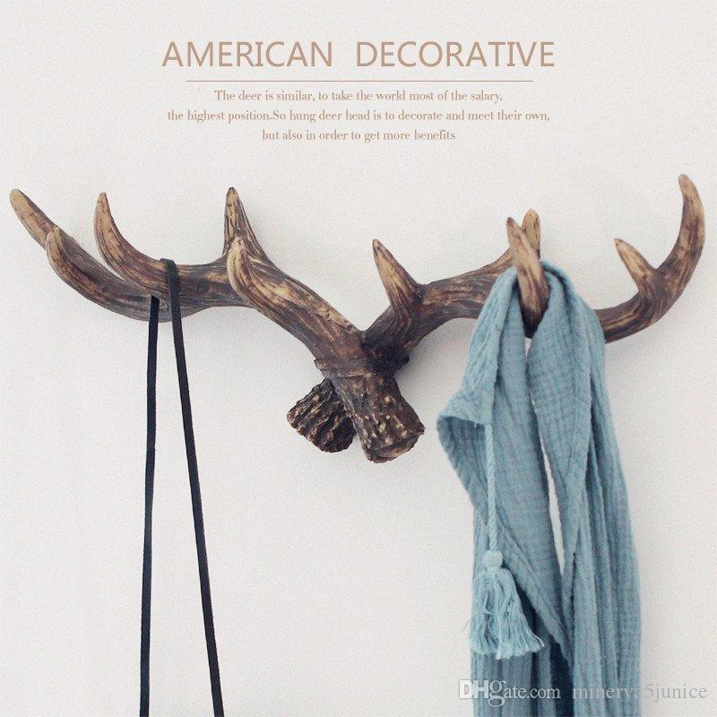 2018 American Style Retro Antlers Decorative Wall Hanging Coat Racks ...