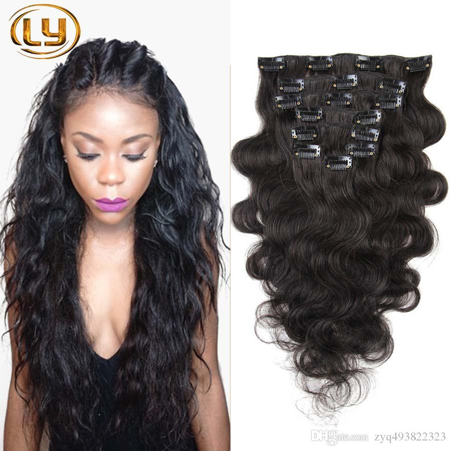 7a Grade 100 Body Wave Clip In Human Hair Extensions Brazilian