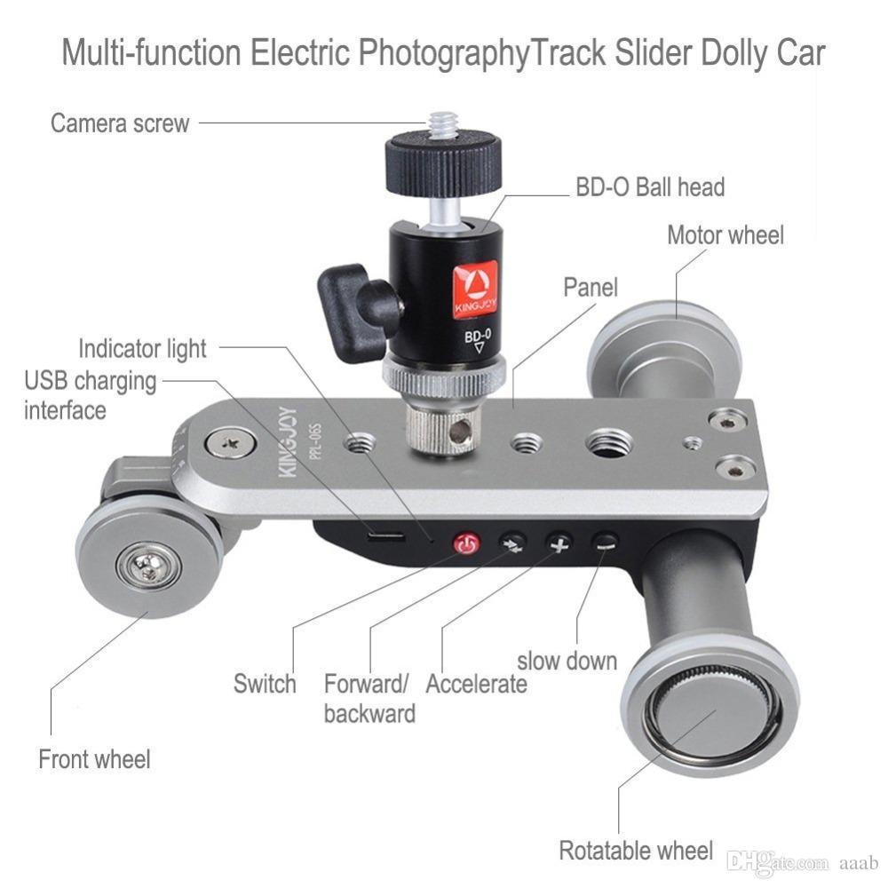 PPL-06S Mini deslizador de pista eléctrico motorizado Dolly Car Skater Polea rodante de 3 ruedas Video de la fotografía carril de la pista