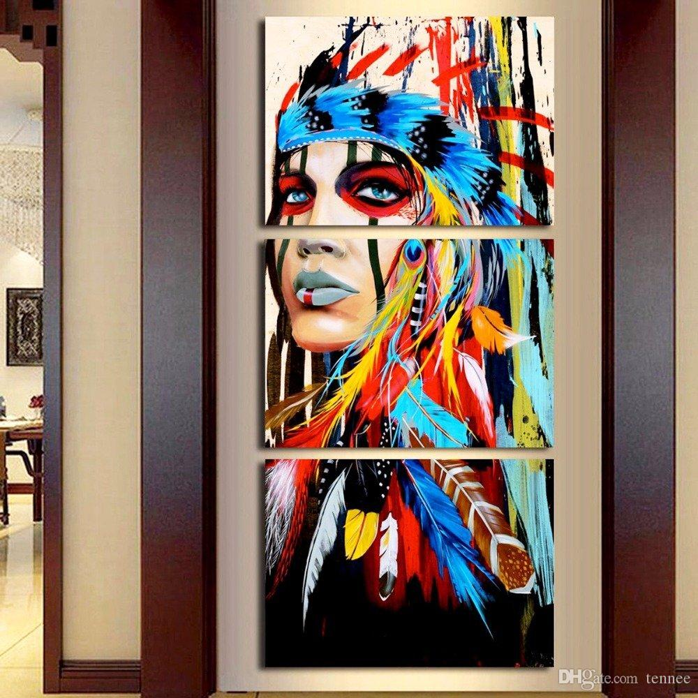 764380c61e7 2019 Native American Girl Feathered Women Modern Home Wall Decor Art  Picture Print Poster Painting On Canvas Artworks For Living Room From  Tennee