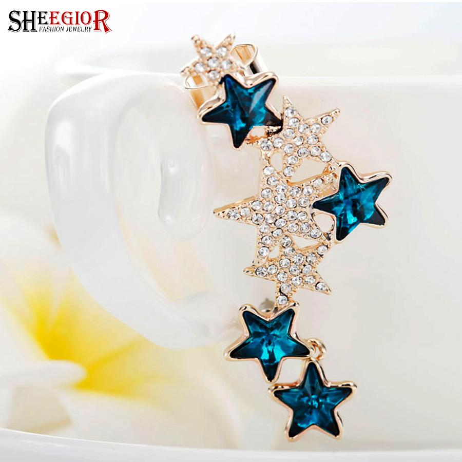 SHEEGIOR Strass Stella Ear Cuff orecchini le donne clip color oro orecchini gioielli moda bijoux femme regali 1 pezzo orecchini