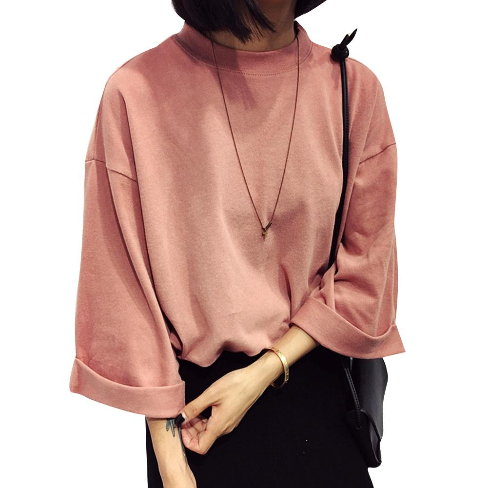 2bfbc496 Camiseta de algodón al por mayor-moda Mujer 2016 Nueva camiseta de verano  Siete mangas cuello alto sólido Camiseta casual Camiseta superior de mujer  ...