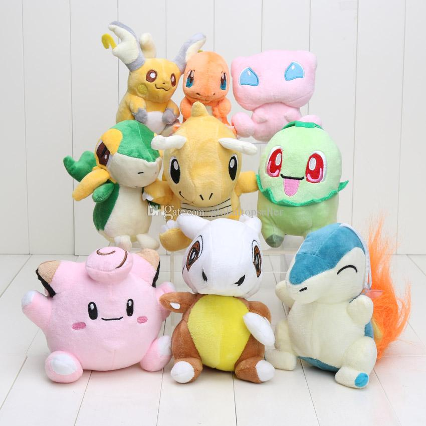 Pocket Plush Toy Clefairy Raichu Charmander Snivy Dragonite Chikorita Cubone Cyndaquil Mew Dolls
