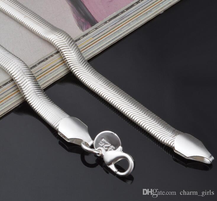 2017 حار تبيع رجل امرأة 925 الفضة قلادة 6 ملليمتر الأزياء 16-24 بوصة ثعبان سلسلة قلادة المصوغات شحن مجاني 5 قطعة / الوحدة