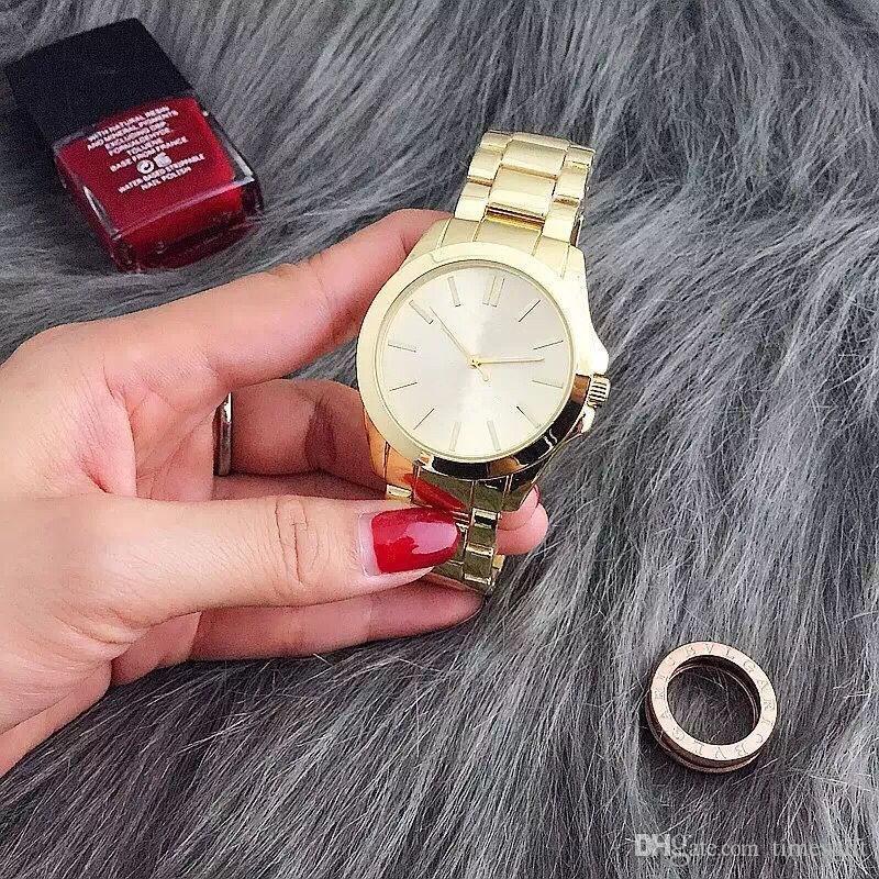 De luxe De La Mode Femmes Montre En Acier Inoxydable De Luxe Dame Grand Cadran Rose Montre-Bracelet Célèbre De Haute Qualité Femmes Robe Heure Livraison Gratuite