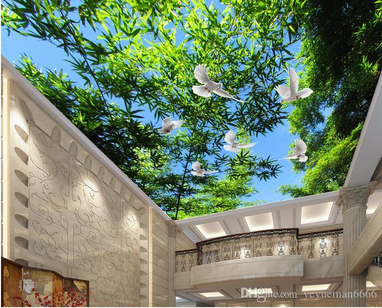 3d السقف خلفيات لغرفة النوم الجدران مخصصة 3d خلفيات لسقوف الطازجة الخيزران غابة أزرق السماء 3D خلفيات سقف لغرفة المعيشة