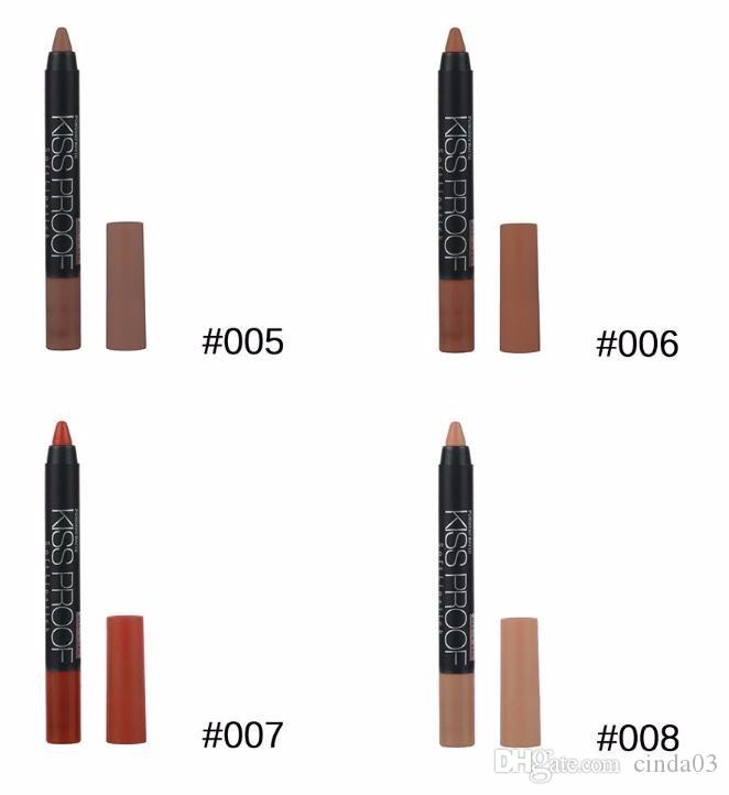 Wholesale- Menow Makeup Matte Kiss Proof Lipstick Long Lasting Effect Powdery Soft Waterproof Matte Lipstick Lip Pencil Crayon fre