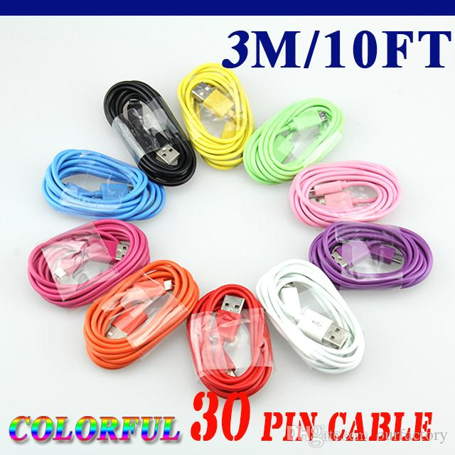 Wholesale Colorful 1m 2m 3m 30 Pin USB data Cable usb charger Cable for iPhone 4 4s ipad 2 3