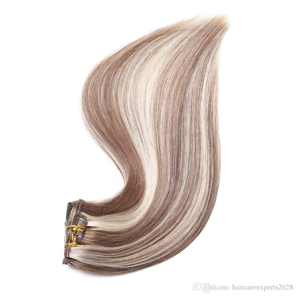8 teile / satz 100g kastanienbraun highlight blonde clip in haarverlängerungen doppelschuss klavier 6/613 clip in menschliches haar extensions