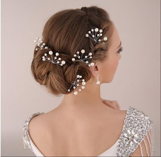Wedding Hair Jewelry Elegant Bridal Updo Hair Accessories Silver Tone  Rhinestones Fresh Water Pearl Wedding Accessories Bridal Hair U Pins