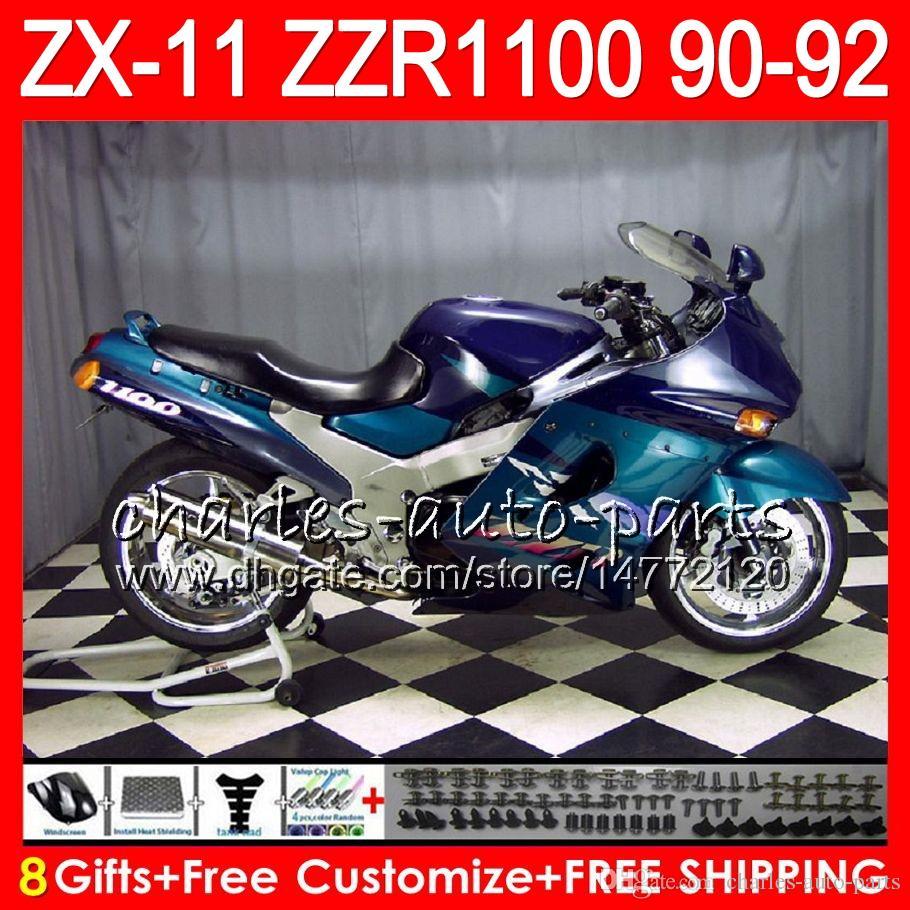 8Datos es Para KAWASAKI NINJA ZX11 ZX11R 90 91 92 ZZR 1100 21NO50 azul negro ZX 11 11R ZZR1100 ZX-11R ZX-11 1990 1991 1992 Juego de carenado