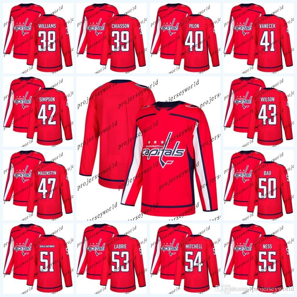 low priced 79407 ad5ba Washington Capitals Jerseys 2017-2018 Season 38 Colby Williams 39 Alex  Chiasson 40 Garrett Pilon 41 Vitek Vanecek Hockey Jersey