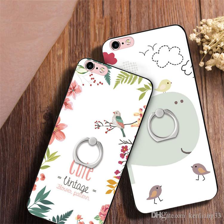 For iphone 7 3D painting case Cute Cartoon Character and Animal Soft TPU relief back cover ring phone case for iphone 8