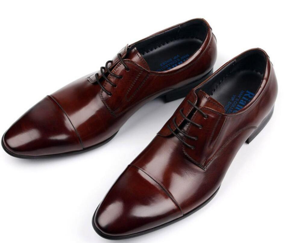 792aa1481 Compre 2017 Marca Vintage Clássico Mens Sapatos Formais De Couro ...