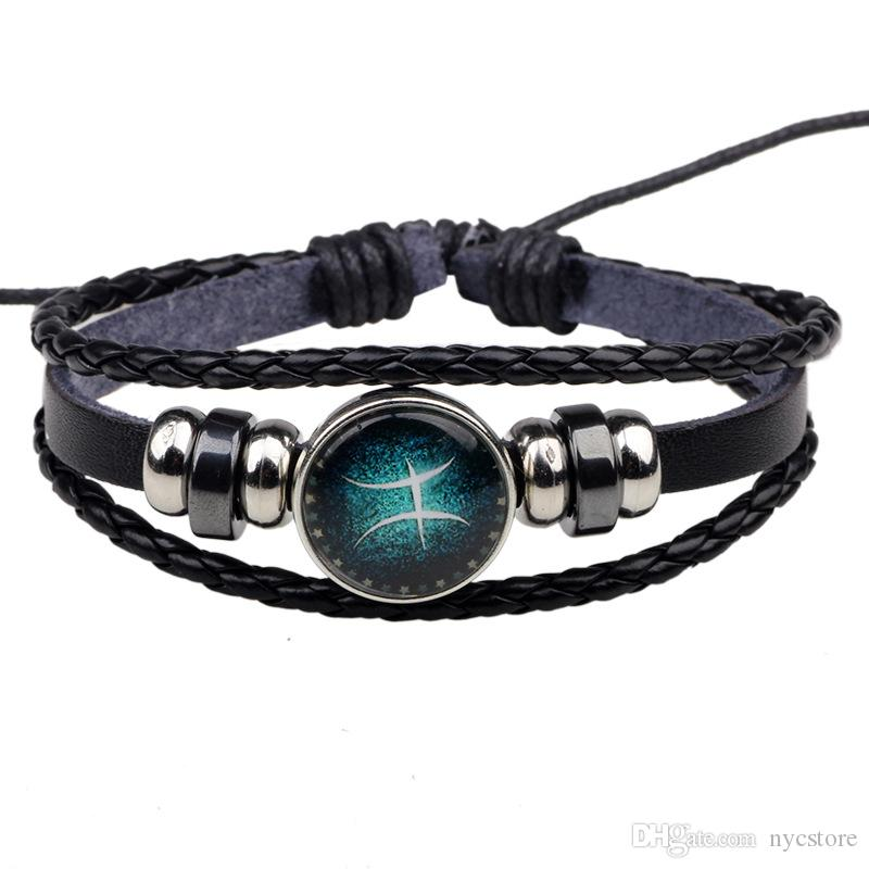 12 zodiac signs genuine leather women bracelet diy jewelry 21cm fashion bangles