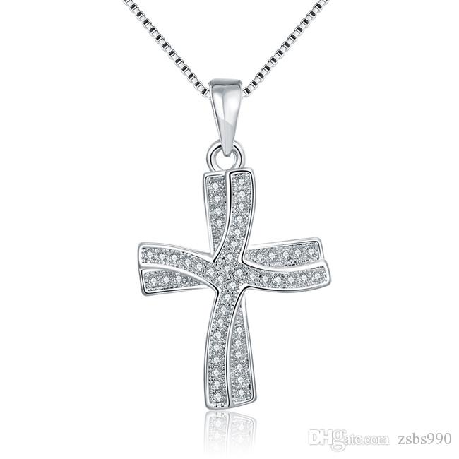 Wholesale cross pendant necklace 18k platinum plated with aaa zircon wholesale cross pendant necklace 18k platinum plated with aaa zircon wedding engagement gifts for women fashion jewelry pendants gold necklace for women aloadofball Choice Image