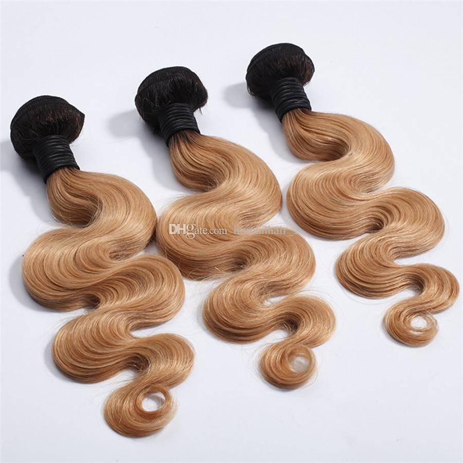 #1B 27 Honey Blonde Ombre Brazilian Virgin Body Wave Human Hair Weave Bundles With Dark Roots Light Brown Ombre 13x4 Lace Frontal Closure