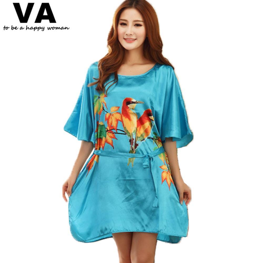 Plus Size Moda Allentato Sleep Dress Rayon Seta O Collo Stampa Camicie da notte Camicie da notte in raso Sleepwear Abbigliamento da notte Camicia da notte F00494
