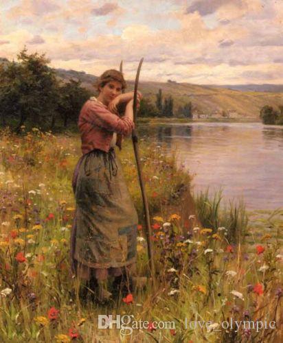 Momento di riposo incorniciato e dipinto a mano - giovane donna vicino al fiume Ritratto, dipinti ad olio su tela su tela Le diverse dimensioni possono essere personalizzate R91