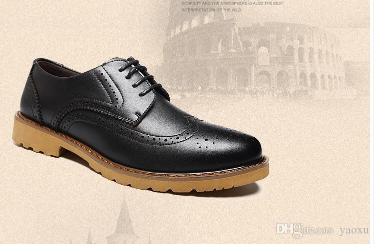 Mens Casual Shoes Wingtip Black Leather Formal Wedding Dress Derby ...
