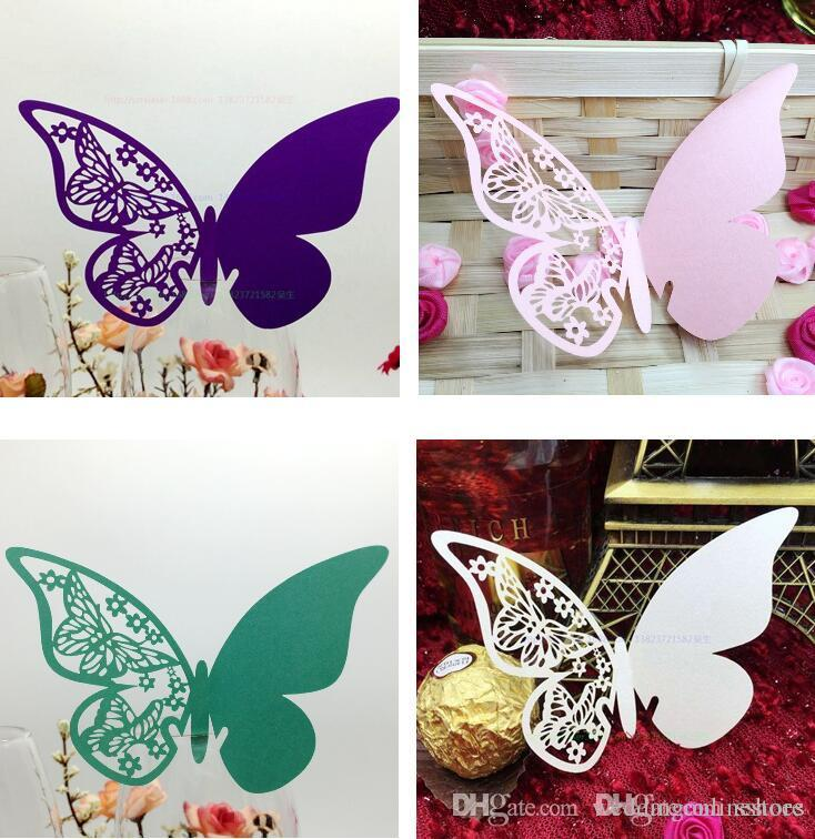 Mixed Styles Laser Cut Wedding Name Card Party Table Decoration Hollow Butterfly Wine Glass Cup Paper Vintage Ideas