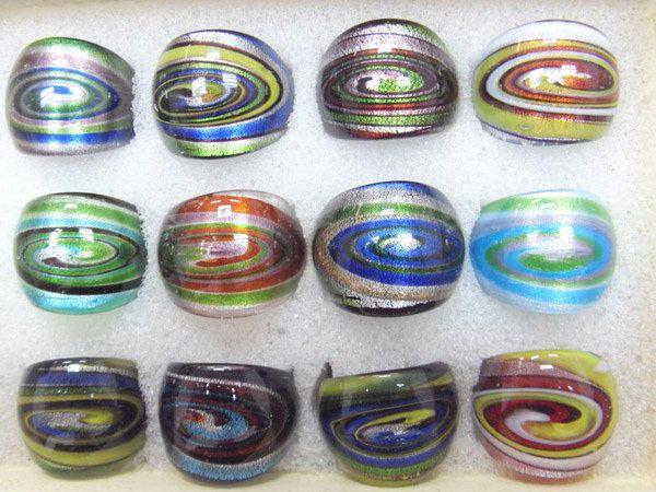 / 믹스 색상 스타일 DIY 공예 보석 선물 RI2 *에 대 한 램프 워크 유리 밴드 링